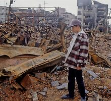 A boy was  lost family members by earthquake fire , JAPAN by yoshiaki nagashima