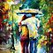 Stroll - original oil painting on canvas by Leonid Afremov by Leonid  Afremov