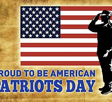 American soldier saluting flag Patriot day by patrimonio