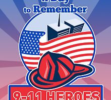 9-11 Patriot Day Firefighter American Flag  by patrimonio