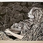 Sleeping Girl- xylography by Amanda Heigel