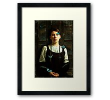 Girl with Blue Butterflies Framed Print