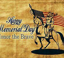 Retro American cavalry soldier riding horse bugle by patrimonio