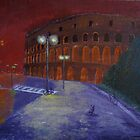Red Night in Roma. Coloseum. by Alexey Yarygin