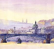 Prague Panorama Chehuv Bridge by Yuriy Shevchuk