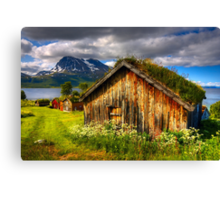 Traditional Houses at Hella, Kvaloy. Tromso, North Norway. Canvas Print