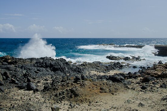 Sea Crashing Against Lava Rocks, Aruba by Gerda Grice
