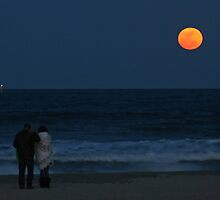 Super Perigree Moon In Virginia Beach by Bonnie Robert
