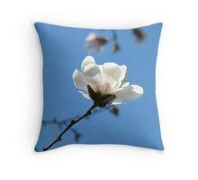 Blue Sky Floral art White Magnolia Flowering Tree Spring Baslee Throw Pillow