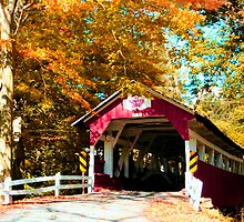 Historic Covered Bridge in Autumn, Western Pennsylvania by Georgia Wild
