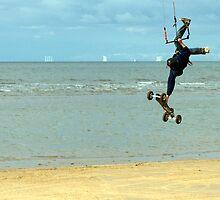 Airborne Kitesurfer by John Hare