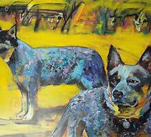 Australian cattle dogs. by Cat Leonard