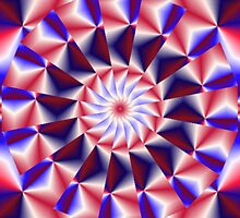 Patriotic Pinwheel Abstract by Charldia