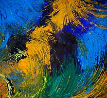 organic in blue and yellow by Lynn Hughes