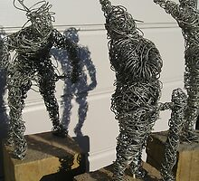wire sculpture circus parade study - daumier by Joanna Fountain