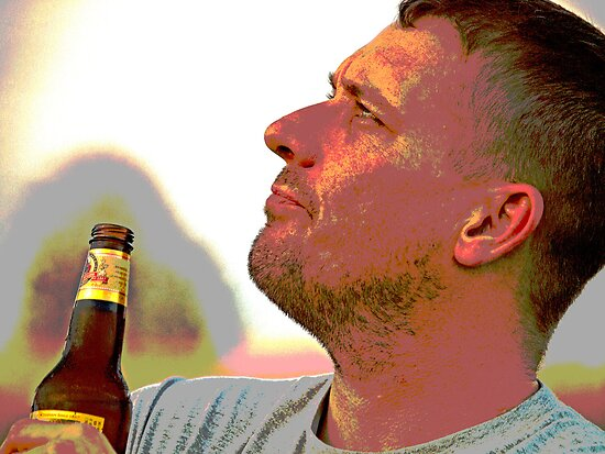 Deep Thinking over a frosty beer by Jennifer  Arganbright