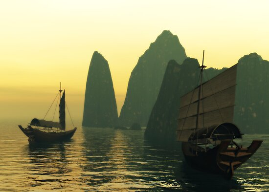 Sampans at Sunset by Sandra Bauser Digital Art