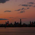 Melbourne City Skyline At Sunset by 104paul