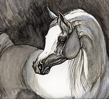 grey arabian horse painting by tarantella