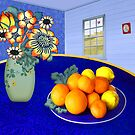 Oranges and Lemons in a Blue Bowl by Penny Alexander