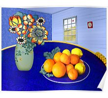 Oranges and Lemons in a Blue Bowl Poster