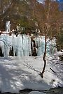 Icicle Covered Cliffs Above Kitchen Creek by Gene Walls