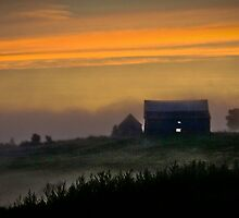 A Foggy Farmhouse Sunset by Scott Ruhs