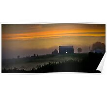 A Foggy Farmhouse Sunset Poster