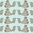 quirkybird repeat aqua by Jo Cave  (cavecorner)
