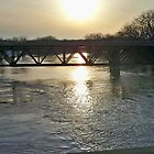 Minnesota River FLOOD Sunset Bridge by Diane Trummer Sullivan