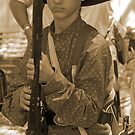 Ready to fight in sepia by Larry  Grayam