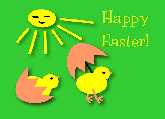 Green awareness Easter chicken Card by patjila
