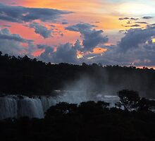 Iguassu Falls Sunset by Carol Bock