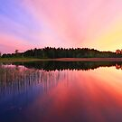 Sunset over lake by Romeo Koitmäe