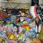 Towhee in Compost Bin by Lynda Earley