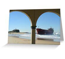 Pasha Bulker aground at Nobbys Greeting Card