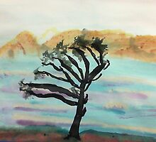 Very Wind Blown Torry Pine, watercolor by Anna  Lewis