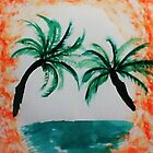 Palm Trees hanging over sea in Oval, with orange splash,, watercolor by Anna  Lewis