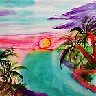 Sunrise over the Islands, watercolors by Anna  Lewis