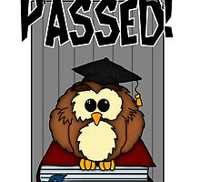 Graduation / Exams - Congratulations Graduation Passed Owl On Books  by Moonlake