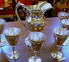 Silver  Pitcher and Stemware by ctheworld