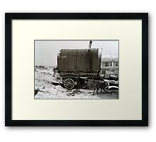 Vardo and Lurcher on a Gypsy Site in Yorkshire Framed Print