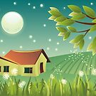 Cartoon landscape at night by Anastasiia Kucherenko