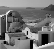 Houses by the Caldera ~ Black & White by Lucinda Walter