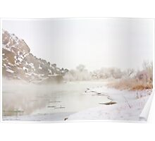 Winter River Mist Poster