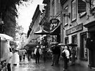 Walking in the Rain ~ Black & White by Lucinda Walter