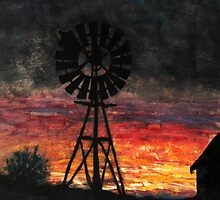 As die son sak in die weste/ Sunset on the farm by Rina Greeff