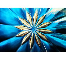 Blue Glass Flower Photographic Print