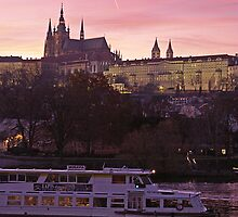 Prague Castle And Vltava At Dusk by sceneryphotosto