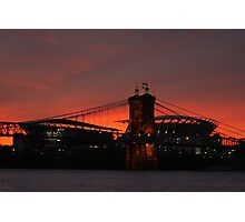 Paul Brown Stadium and Roebling Bridge Photographic Print